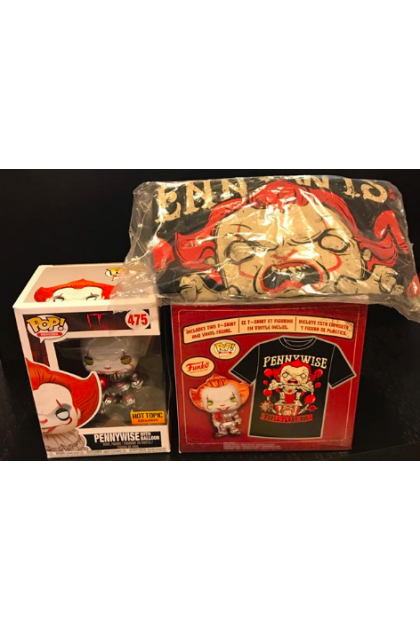 IT Pennywise Box Set Funko Pop! with T-Shirt Hot Topic Exclusive L Size (VINYL79)